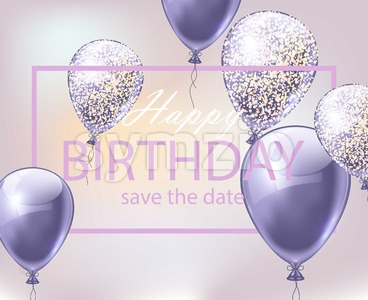 Happy Birthday card with balloons. Festive party background realistic Vector illustration Stock Vector