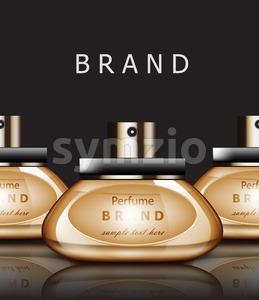 Golden Perfume realistic Vector packaging. Products label design mock up Stock Vector