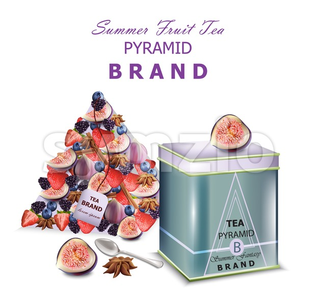 Fruits tea Vector realistic packaging. Pyramid design fresh fruits mixes fig fruit and blueberry Stock Vector