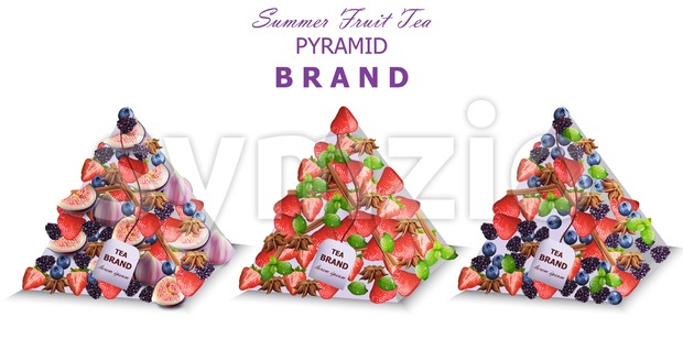 Summer fruits tea packs Vector. Pyramid design fresh fruits mixes Stock Vector