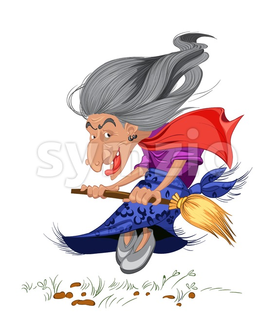 Old witch with a broom. Cartoon character russian style Vector illustration Stock Vector