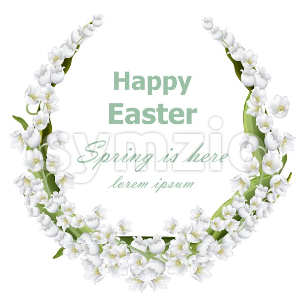 Happy Easter card with lily of the valley floral wreath frame. Vector holiday illustration Stock Vector