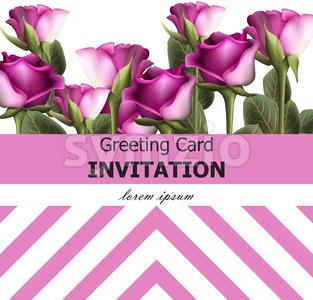 Greeting card Vintage roses background Vector. Invitation layout illustration Stock Vector