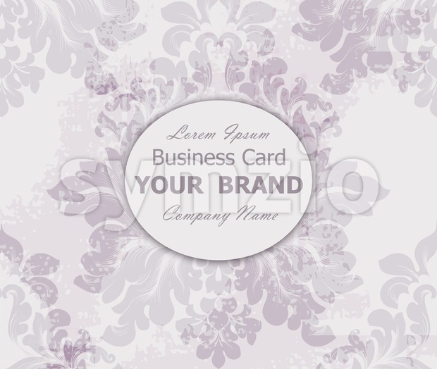 Business card with vintage baroque element. Vector illustration Stock Vector