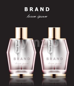 Vector realistic pink perfume bottles mock up. Product packaging detailed cosmetic aroma. dark background Stock Vector