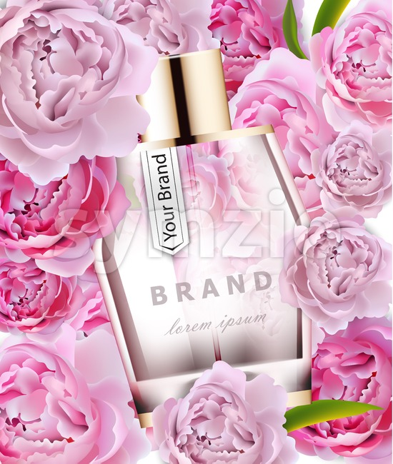 Vector realistic pink perfume bottle mock up. Product packaging detailed cosmetic. Peonies flowers background illustration Stock Vector
