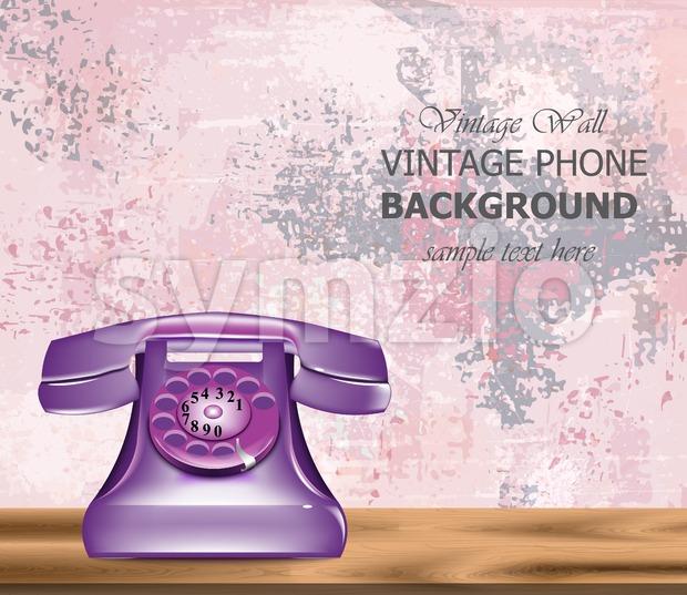 Vintage retro phone Vector realistic. Detailed 3d illustration. Ultra violet color Stock Vector