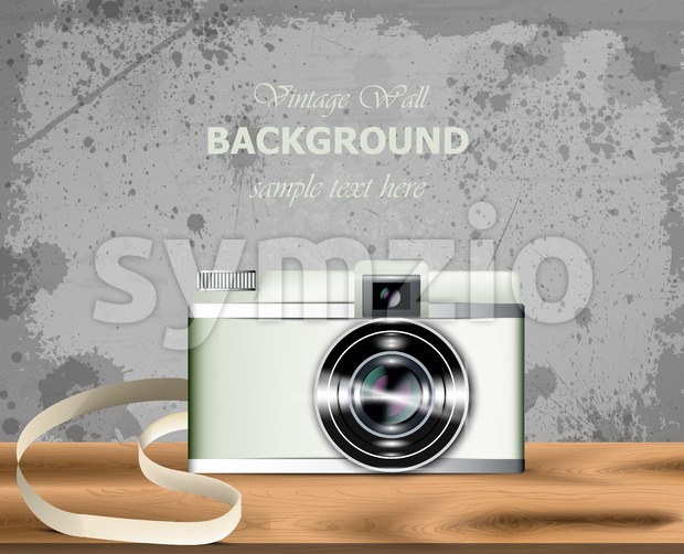 Vintage camera Vector realistic. Detailed 3d illustration Stock Vector