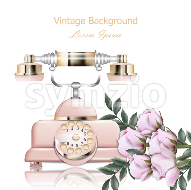 Vintage pink phone Vector. Retro illustration in realistic style Stock Vector