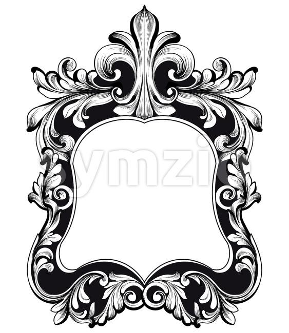 Baroque mirror frame. Vector Imperial decor design elements. Rich encarved ornaments line art Stock Vector