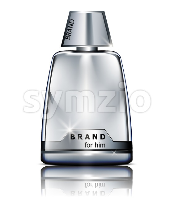 Vector realistic silver perfume bottle mock up isolated on white. Product packaging detailed cosmetic Stock Vector