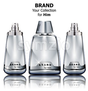 Vector realistic silver perfume bottles mock up. Product packaging detailed cosmetic Stock Vector