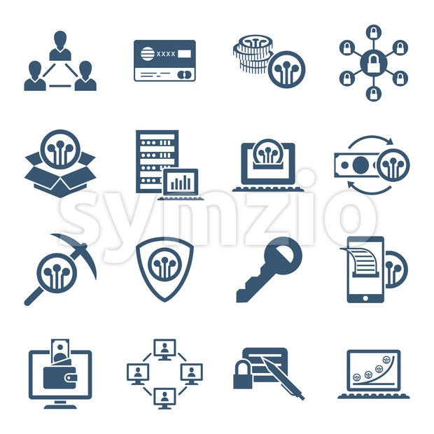 Digital vector line icons set blockchain pack illustration with elements for cryptocurrency Stock Vector