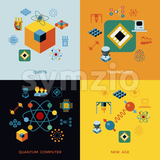 Digital vector quantum computing and qubits tech icon set pack illustration, simple line flat style infographics Stock Vector