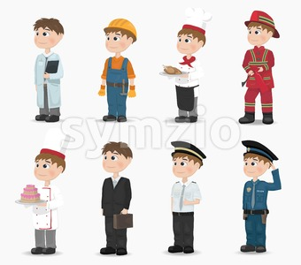 Man different professions collection Vector. Fireman, policeman, constructor, doctor cook pilot Cartoon character Stock Vector