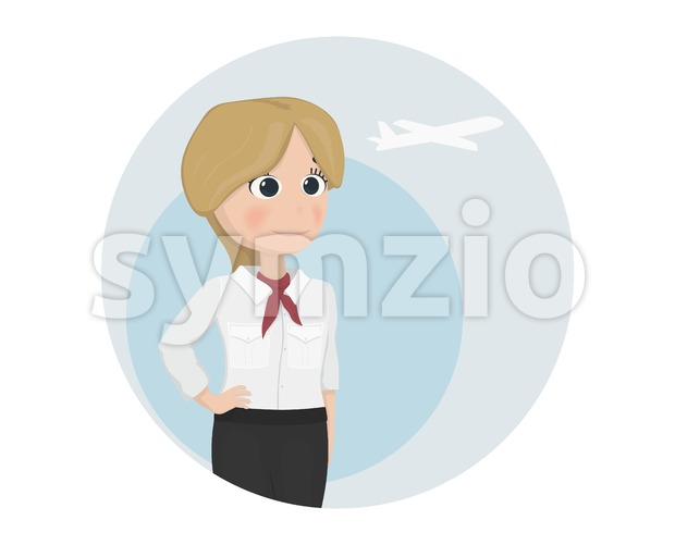 Stewardess Vector template. Cartoon characters isolated icon Stock Vector