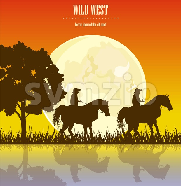 Wild West sunset Vector illustration. Cowboy Men horse riding at sunset Vintage west card Stock Vector