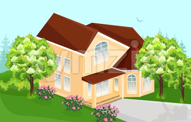 Big house Vector. Real Estate architecture house Stock Vector