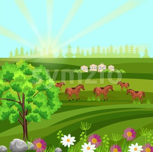 Horses on a green field Vector. Farm ville sunny summer day background Stock Vector