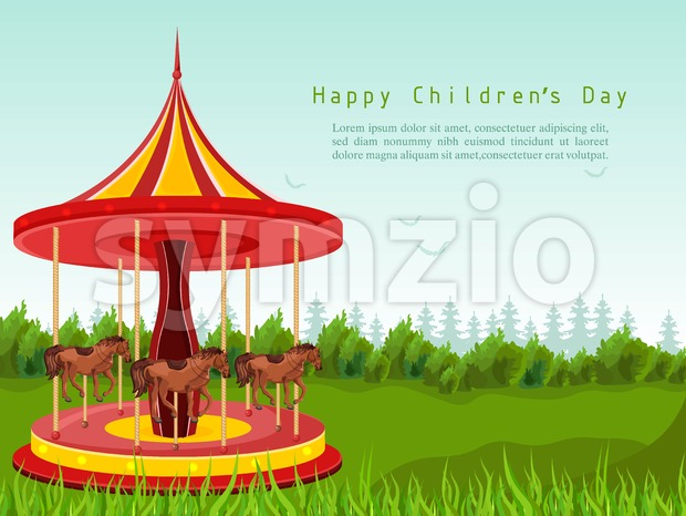 Happy children day card with horse carousel Vector. detailed illustration Stock Vector
