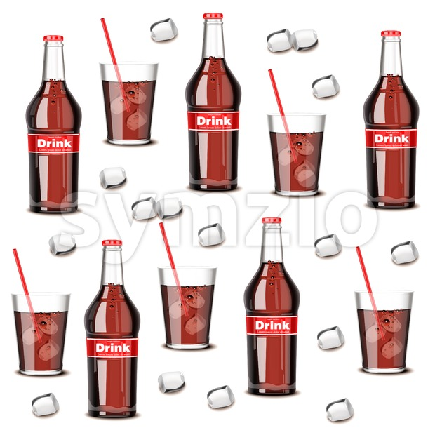 Soda drink bottle and glass pattern Vector. Summer cool background Stock Vector