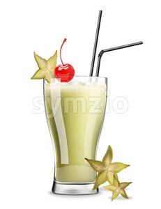 Star fruit cocktail Vector. Realistic summer drink tropic juice Stock Vector
