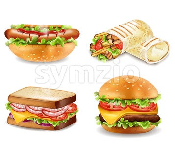 Burger, sandwich, hot dog and wrap Vector isolated. Realistic set collection Stock Vector