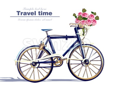 Bicycle travel card Vector realistic. Detailed 3d illustration Stock Vector