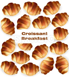 Croissant pattern Vector. Sweet fresh dessert breakfast menu Stock Vector