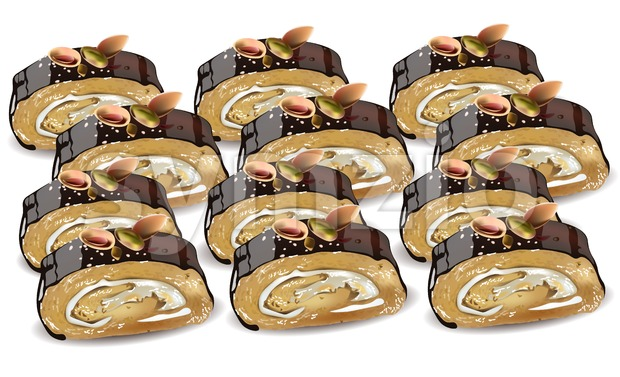 Homemade Chocolate and pistachio roll dessert Vector illustration Stock Vector