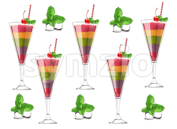 Exotic fruits cocktail pattern Vector realistic. Layers of different fruits strawberry, blueberry, kiwi, orange, cherry. ice cubes and mint Stock Vector