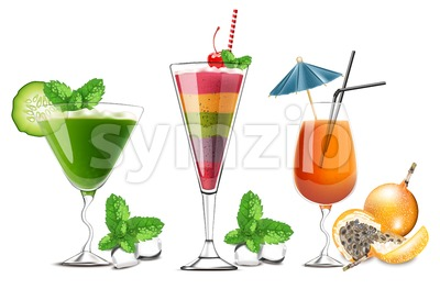 Exotic fruits cocktails glasses isolated Vector realistic. Tropic summer drinks detailed 3d collection Stock Vector