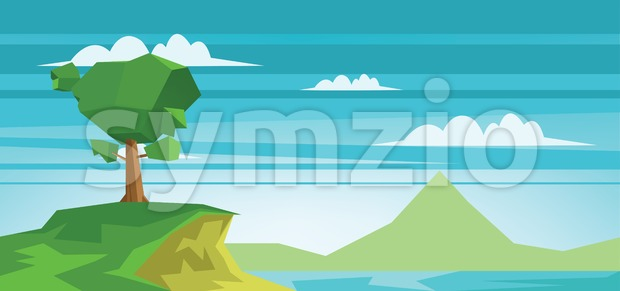 Abstract landscape with a lake and a green tree Stock Vector