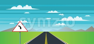 Abstract landscape with a road sign, green field and mountains Stock Vector