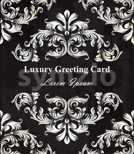 Black elegance Luxury card with Baroque ornament. Vector royal background Stock Vector