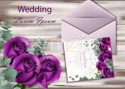 Wedding invitation card Vector. Purple violet roses on wood background Stock Vector