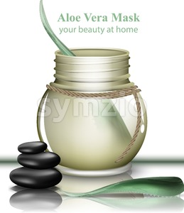 Aloe vera organic cosmetics cream Vector. Lotion product realistic mock up. packaging bio label design Stock Vector