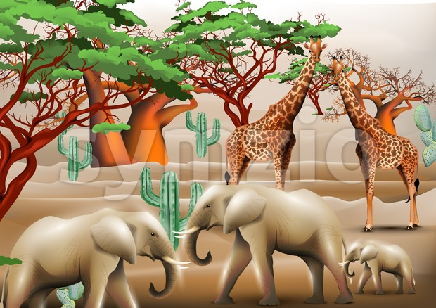 Elephants and giraffes safari background Vector illustration templates Stock Vector
