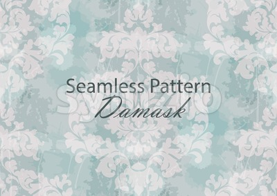 Vintage Baroque seamless texture pattern Vector. Wallpaper ornament decor. Textile, fabric, tiles. Light blue color Stock Vector