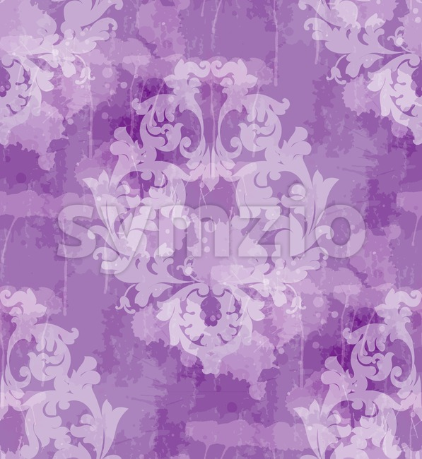 Vintage Baroque seamless texture pattern Vector. Wallpaper ornament decor. Textile, fabric, tiles. Violet color Stock Vector