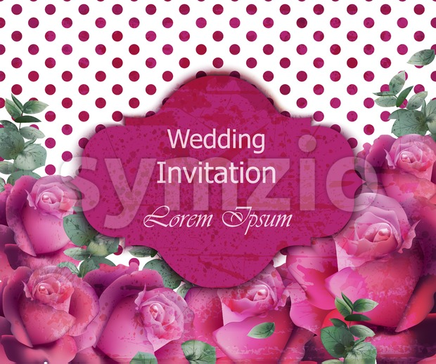 Wedding invitation card Vector. Beautiful roses floral frame vertical. Banner poster template 3d background Stock Vector