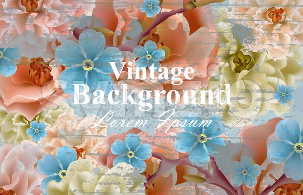 Vintage flowers card Vector. Spring Beautiful floral decor. Banner poster template 3d background Stock Vector