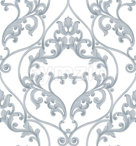 Baroque texture pattern Vector. Luxury wallpaper ornament decor. Textile, fabric, tiles. Gray color Stock Vector
