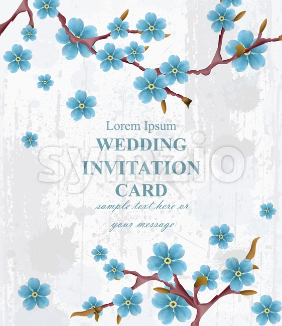 Wedding invitation card Vector. Blue spring flowers. Beautiful vertical floral frame 3d background Stock Vector