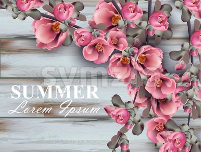 Summer background with pink flowers branches on wooden background. Vector realistic 3d floral bouquet Stock Vector