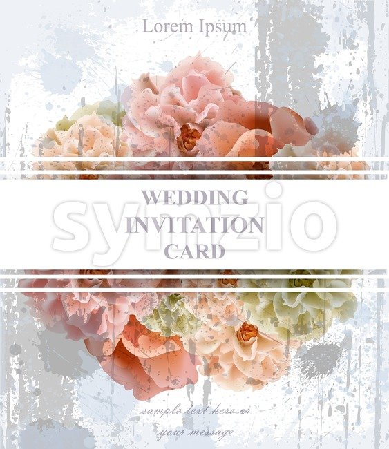 Wedding invitation card Vector. Vintage Beautiful floral decor. Banner poster template 3d background Stock Vector