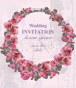 Wedding invitation wreath Vector. Beautiful round floral frame decor. 3d background Stock Vector