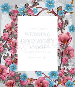 Wedding invitation card Vector. Blue and pink spring flowers. Beautiful vertical floral frame 3d background Stock Vector