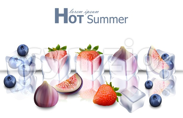Ice cubes with fruits Vector realistic. Frozen fruits hot summer card Stock Vector