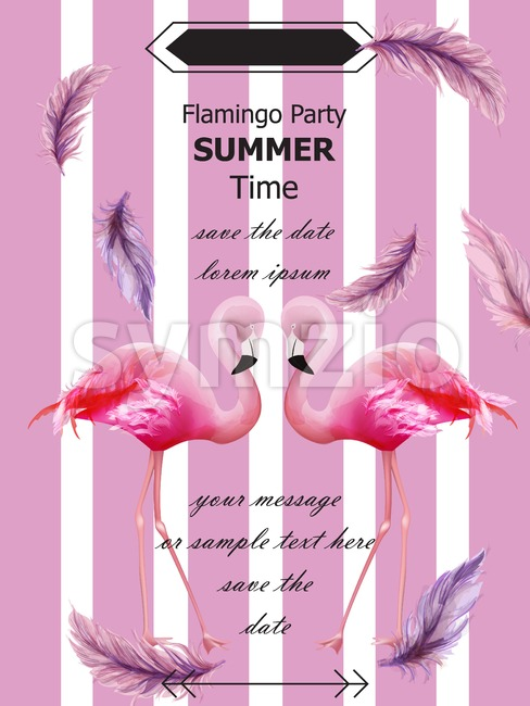 Flamingos party Summer card Vector. Tropical exotic pink flamingos flyer or banner Stock Vector